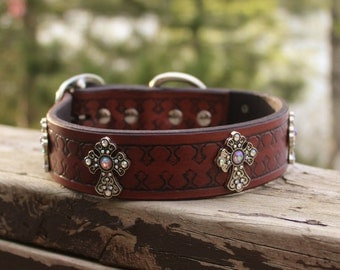 Leather Dog Collar, Rhinestone Dog Collar, Leather Dog Collar with Cross, Rhinestone Dog Collar, Custom Dog Collar, Leather Collar