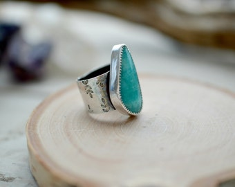 Stone statement ring, sterling silver ring, gemstone ring, amazonite ring, size 6, artisan jewelry