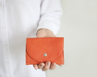 Small Wallet Tangerine Leather,  flat womens wallet, small orange leather purse