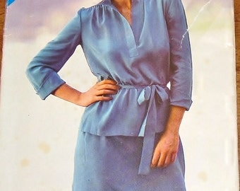 Vintage 1970s Butterick See & Sew 146 Tie Belt Tunic Top, Skirt, Womens Misses Sewing Pattern Size 8 10 12 Bust 31 32 34 Uncut Factory Folds