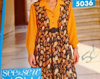Easy Sewing Pattern Butterick See & Sew 5036 Button Down Blouse Vest Full Skirt Womens Misses Size 12 14 16 Bust 34 36 38 Uncut Factory Fold