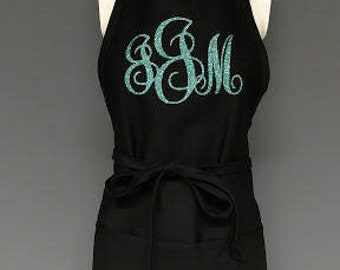 Personalized Apron.  Custom monogram apron personalized for a Bride, teacher or anyone who loves to cook. New home gift. New house gift.
