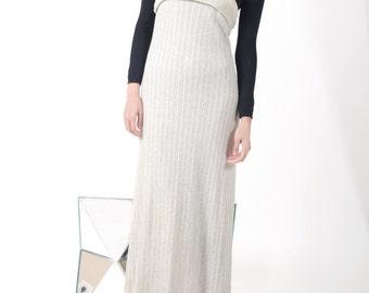 Vintage Silver Lurex Maxi Dress