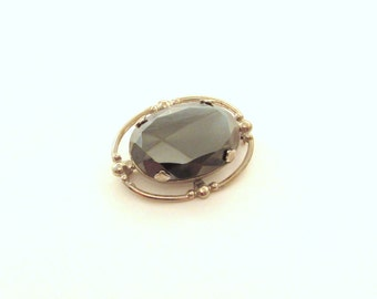 Vintage Hematite Brooch in White Metal Setting - Metallic Gemstone Pin