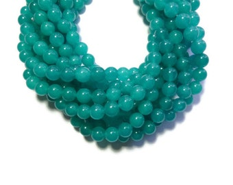 Teal Jade - 8mm Round Bead - 48 beads - Full Strand - turquoise - cyan - translucent stone - aqua