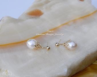 Freshwater White pearl dangles 14k yellow gold ball post earrings