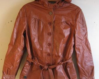 1980s Women's Hooded Leather Bomber Jacker Split End Ltd. 11/12 (Medium)