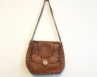 Vintage 70s Tooled Leather Purse / Brown Leather Hippie Boho Bag / Butterfly Purse