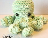 Sprite the Baby Octopus : handmade crochet small green cotton stuffed toy