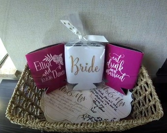 Romantic Wedding Can Coolers | Wedding Party Favor | Elegant Wedding | FREE Standard Shipping