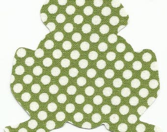 Green w/White Polka Dots Frog Fabric Iron on Appliques ~ No Sew