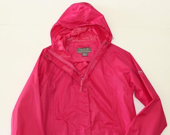Vintage Bright Pink Waterproof Raincoat Regatta windbreaker-Thin rain coat- hood hooded -travel -outdoors outerwear-Small Size 36 chest