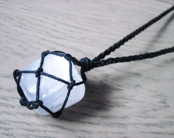 Selenite Necklace, Healing Crystal Necklace, Tumbled Selenite, Chakra Necklace, Healing Stone Necklace