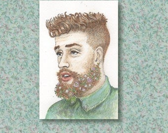 Florian the man with the floral beard - an original artwork - pen and ink illustration