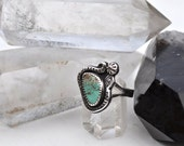 RESERVED for Agathe Only // Old Mine Royston Turquoise Sterling Silver Serpent Ring
