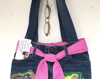 Cats in The Garden Child's Girl's Lady's Denim Blue Jeans Purse