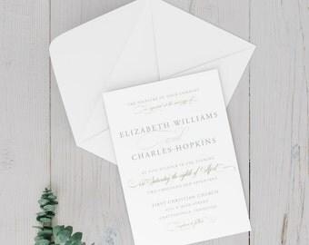 Wedding Invitation - Wedding Announcement - DIY Printable - Elegant Calligraphy, Script, Typography
