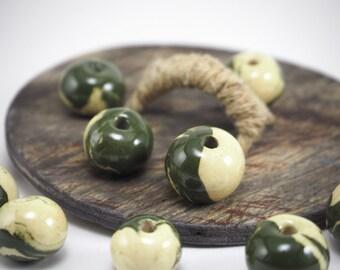 Round beads,Bead set, 11 pcs,Ceramic beads,Clay beads,White beads,Green beads,Beads for bracelet,Rare beads,Unusual bead,Ball beads