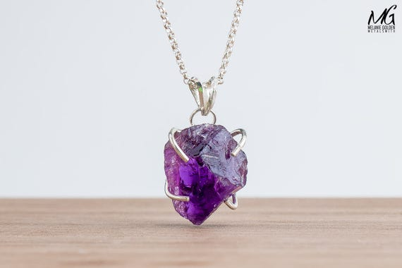 Raw Purple Amethyst Gemstone Crystal Necklace in Sterling Silver