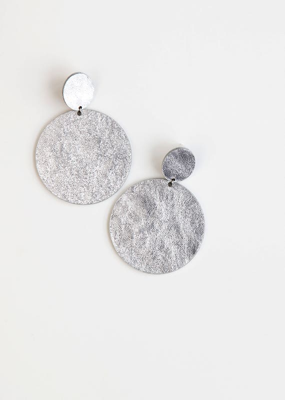 Large silver disc leather earrings- oversize silver drop earrings- minimalist geometric large statement earrings- large silver earrings