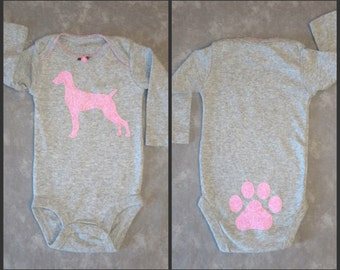 Pick your DOG BREED!  Custom long-sleeve gray baby GIRL bodysuit with dog breed of your choice