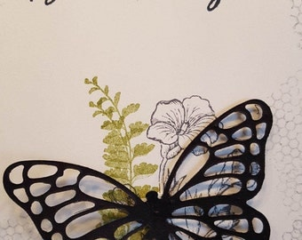 Butterfly in Black Birthday Greeting #BDY 42