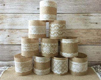 10 jar sleeves, ball quart size jar sleeves, ivory and cream color lace and natural color burlap, wedding, bridal shower, baby shower decor