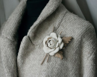 Ivory/Beige Leather Camellia Flower Brooch/Hair Clip