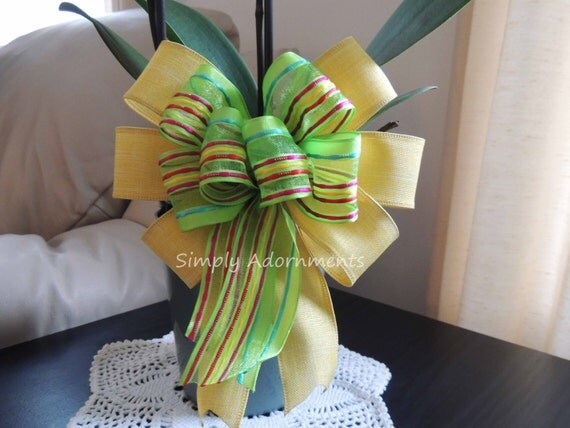 Yellow Green Easter Bow Yellow green Spring Stripes Bow Easter Wreath Bow Gift basket Bow Spring Easter Gift Wrap Bow Spring Door Hanger Bow