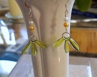 lime green earrings, lime green jewelry, beaded earrings, hypoallergenic earrings, nickel free earrings, dagger earrings