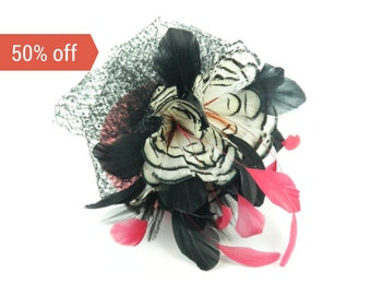 SALE! Pillbox Headpiece Hat Statement Fascinator Large Feathered Flower in Bright Pinks, White and Black Veil Cocktail Party Hat