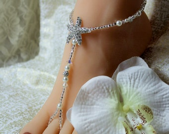 Crystal Beach Wedding Barefoot Sandal Pearl Wedding Foot Sandal Starfish Foot Jewelry Destination Wedding Rhinestone Anklet Barefoot Sandals