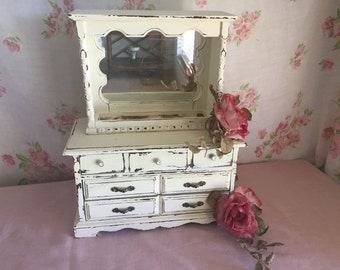 Large Jewelry Box - Painted white jewelry box -- GIft for her  - Shabby Chic Jewelry Box -  Hutch style jewelry box -  French Farmhouse