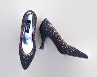 80s Stewart Weitzman pumps. Rhinestone heels. Party Shoes. Evening Shoes. Satin pumps. Black pumps. Made in Spain. Designer shoes Off 5th