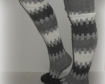 Long socks, knitting leg warmers, over knee socks, scandinavian design, ethnic clothing, wool leg warmers
