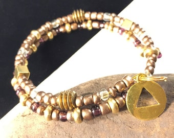 Sobriety AA bracelet, Recovery jewelry, rule 62, gold brass AA charm bracelet, alcoholics anonymous bracelet, sponsor gift, purple 12 step