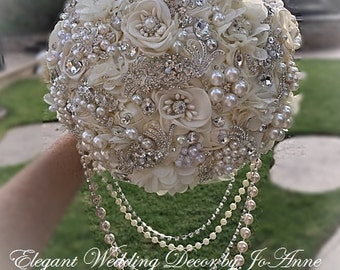IVORY JEWELED BOUQUET All Silver Brooch Wedding Bouquet Brooch Bouquet Broach Bouquet in Ivory and Silver Jeweled Brides Bouquet, Deposit