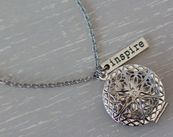 Essential Oil Diffuser Necklace, Aromatherapy Jewelry, Oil Necklace, Oil Diffuser Jewelry, Stainless Steel Diffuser Locket, Inspire Necklace