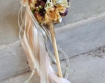 Fall Brown Ivory Peach Flower Girl Pom Wand Custom Order