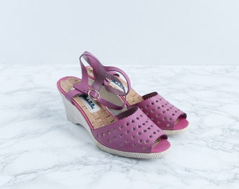 1970s Star Platform Sandals - 70's Taffy Pink Perforated Leather Summer Wedges - Thousands Of Stars Sandals