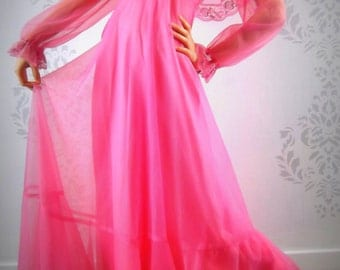 RETRO PINK DRESS 1980's Prom Formal Size Small