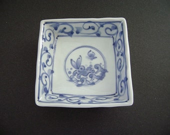 Vintage Blue White Rabbit Dish, Hare in the Waves, Moon Rabbit, Bunny, Running Rabbit, Hand Painted, Square, Easter Bunny, Candy Dish