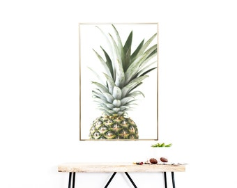 PINEAPPLE DECOR - Kitchen Decor - Printable Wall Art - (1) Jpeg - Dining Room Decor, Living Room Decor, Summer Decor, Pineapple Print