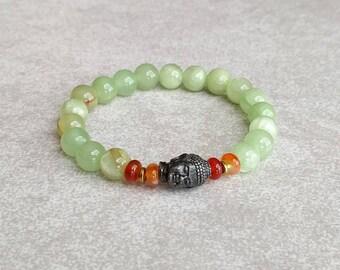 Buddha Bracelet - Green Calcite - Unique Bracelet - Mens Bracelet - Mindfulness Bracelet - Buddhist Bracelet - Item # 402