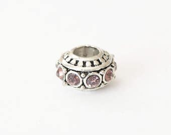 Silver Spacer Bead, Light Amethyst  Rhinestone Beads, Large Hole - 2 pieces (136S)
