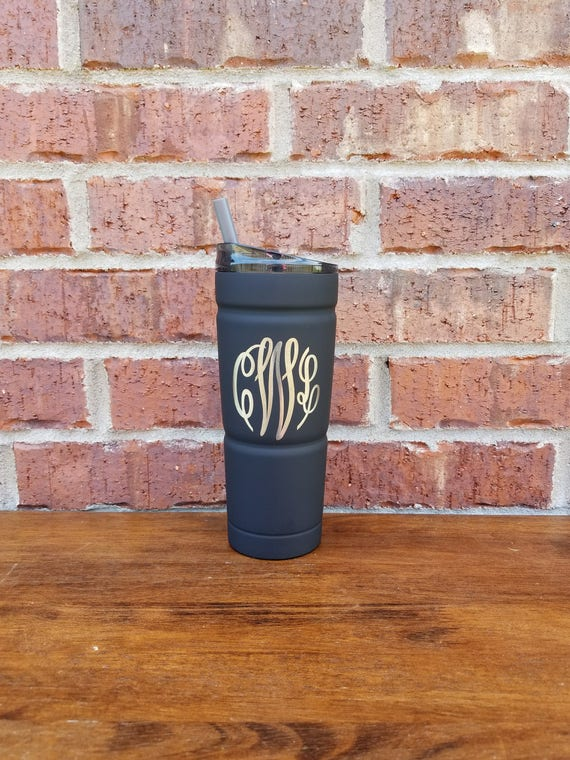 Graduation Gift, Black Powder Coated Tumbler with Straw, Laser Engraved, Personalized Tumbler, 24 oz