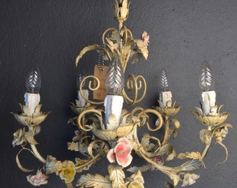 SOLD: Beautiful old tole Flower Chandelier with porcelain roses.