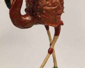 Fernando the Red Flamingo - Paper Mache Clay Flamingo Sculpture
