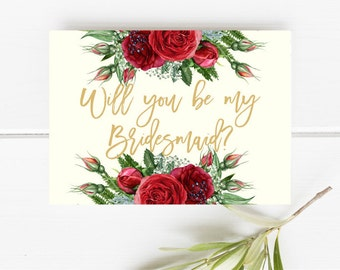 Printable bridesmaid card, Will you be my bridesmaid, Red roses bridesmaid card, Floral bridesmaid card, Gold and Red bridesmaid card, Pink