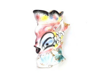 Kitsh Pottery Fish Vase - Sea Life Decor - Pastel Pink Figural Swimming Fish Vase - Kitsch Decor Pottery Vase